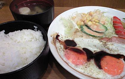 West77「ハムエッグ定食」650円